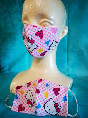 Kids Face mask (Hello Kitty polka dots): Hand made mask, reversible, reusable, washer and dryer safe. for Sale in Signal Hill, CA