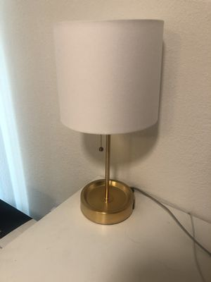 Target gold lamp with built-in charging outlet for Sale in Los Angeles, CA