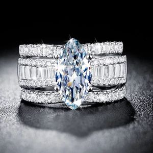 Sparkling 3 Pieces Marquise Cut Simulated Diamond 14K White Gold Bridal Ring Set Size 7 for Sale in Philadelphia, PA