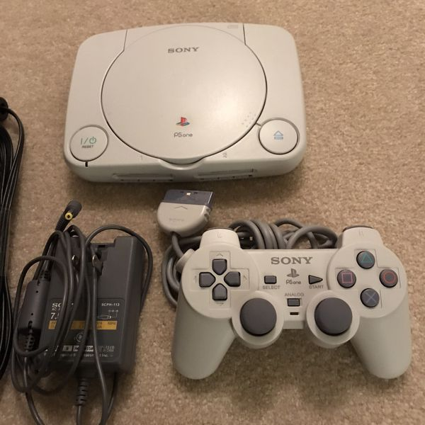 Psone playstation 1 ps1 video game system console with 2 games rayman mortal kombat 3 controller cables
