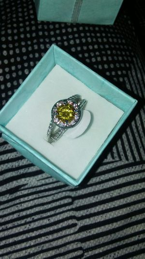 Solid sterling silver ring with a yellow citrine topaz stone for Sale in Boston, MA