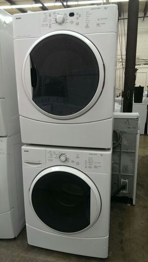Kenmore stackable front load washer and dryer set perfect condition with warranty for Sale in Oxon Hill-Glassmanor, MD