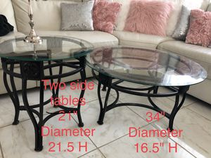 2 glass side tables and 1 glass coffee table set for Sale in Fresno, CA