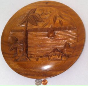 """Vintage Wooden Plate with Beach Scene, Nautical, 12"""" x 1 1/2"""", Thick Wood, Hand Carved Beach Bungalow, Home Decor, Shelf Display, Quality Wood Carving for Sale in Lakeside, CA"""