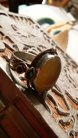 Yellow agate and garnet sterling silver ring for Sale in Avon, MA