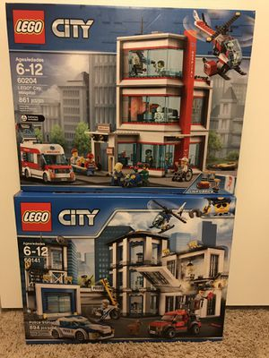 Sealed LEGO City 60204 Hospital + 60141 Police Station for Sale in Stafford, TX