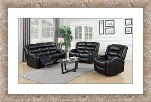 Black faux leather recliner sofa and loveseat for Sale in Alexandria, VA
