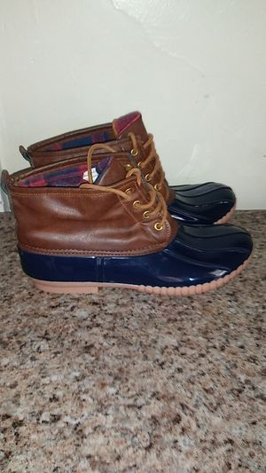 Women's dark blue and brown rain boots woman size 9 for Sale in Manheim, PA
