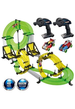 REMOKING Rail Race RC Track Car Toys 860cm Build Your Own 3D Super Track Ultimate Slot Car Playset 2 Cars 2 Remote for Sale in Rancho Cucamonga, CA