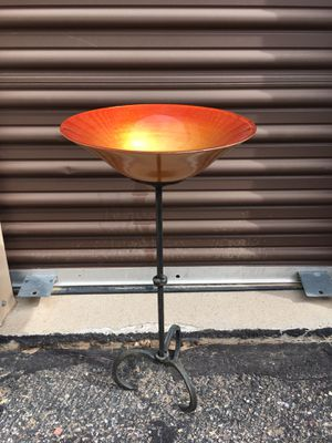 "Bird Bath or Feeder tall Wrought Iron stand with glass Orange Bowl . Neat! 17"" h for Sale in Pagosa Springs, CO"