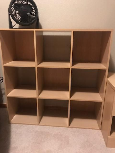 Twin Headboard, Night Stand w/drawer, Dresser w/ 5 drawers, 9 cube shelf, and includes for free 2 small cube shelves.