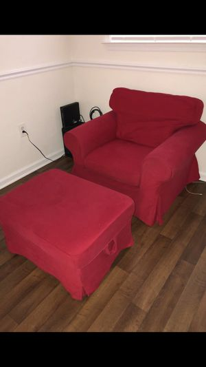 Red chair & ottoman for Sale in Rockville, MD