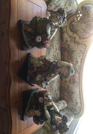 3 beautiful antique statues w clock for Sale in Miami, FL