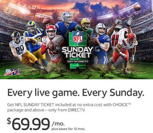 SUNDAY TICKET. EVERY LIVE GAME. EVERY SUNDAY for Sale in Sacramento, CA