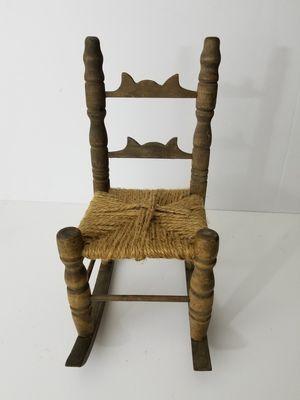 Vintage Mini Rocking Chair Antique Dolls Wooden Wicker Seat for Sale in Orlando, FL