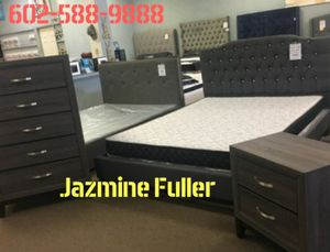 Charcoal Grey Queen size platform bed frame with Mattress, 5 drawer chest, and Matching Nightstand included for Sale in Glendale, AZ