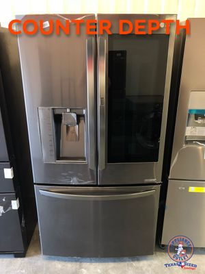 LG black stainless insta-view counter depth fridge. New with warranty. Discounted price. Ask about bundle deal specials for Sale in Houston, TX