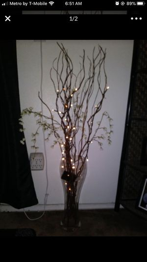 Tall vase with lighted branches for Sale in Anaheim, CA