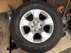 Set of 4 - LT275/65R18 and 6 lug aluminum rims Ram Chevy Toyota for Sale in Bremerton, WA