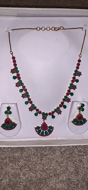 Indian Gemstone Necklace & Earrings 22 karat plated for Sale in McLean, VA