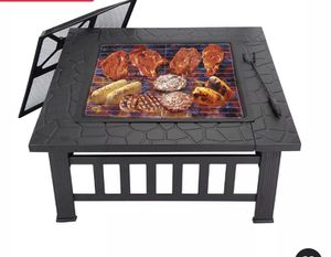 """32"""" Wood Burning Fire Pit Outdoor Garden Patio BBQ Grill Square Stove W/ Cover for Sale in Los Angeles, CA"""