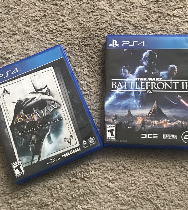 (2) Pre-owned PS4 Games- Batman: Return to Arkham (Double CD), Star Wars Battlefront II