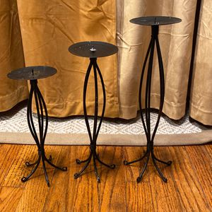 Set of three black candle holders for Sale in Boston, MA