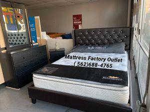 Complete bedroom set & Queen mattress : bed, dresser, mirror, and nightstand for Sale in Montebello, CA