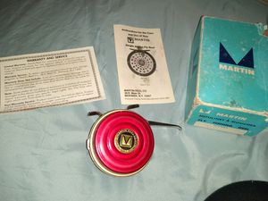 1960s Martin Fly Fishing Reel Sportsman Fisherman Father Gift Vintage Fish Cabin Rustic Man Cave Decor Camping Red & Gold Made in USA for Sale in Phoenix, AZ