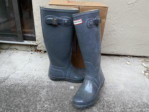Hunter gray glossy high rain boots 7 for Sale in San Jose, CA