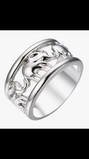 Woman's Stunning Brand New Lucky Charms Elegant Elephants Solid 925 Sterling Silver Luxurious Size 7 Wedding Anniversary Bridal Band for Sale in West Haven, CT