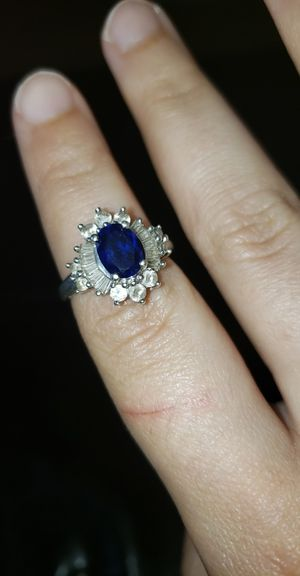 Beautiful Sterling Silver sapphire ring size 8 for Sale in Manchester, CT