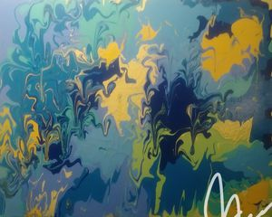 Beautiful blue and yellow hand painted abstract art for Sale in Annapolis, MD
