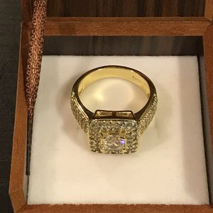 18K YELLOW Gold plated Engagement Ring - Double Row Diamonds - Solitaire Square C for Sale in Dallas, TX