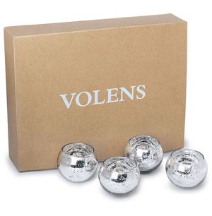 Volens Round Silver Votive Candle Holders, Mercury Glass Tealight Candle Holder Set of 9 for Sale in Paramount, CA