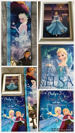Disney Frozen Girls Room Decor 4 pieces set Disney Princess Frozen Elsa and Cinderella Paints Photos Canvas Throw Blanket Art Wall for Sale in Alexandria, VA