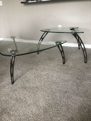 Glass coffee and matching end table for Sale in Lakewood Ranch, FL