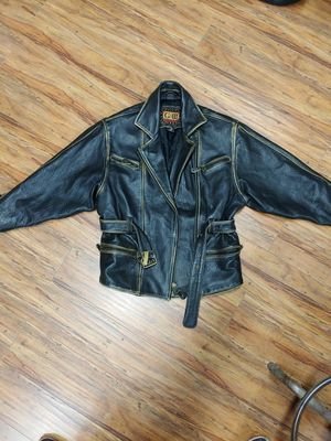 Heavy weight leather motorcycle jacket . Harley Davidson style 50s police jacket for Sale in Vernon, CA