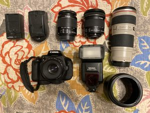 Canon T3i with four lenses and flash for Sale in Rockwall, TX