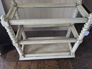 Antique glass shelves rolling display for Sale in Vernon, CA