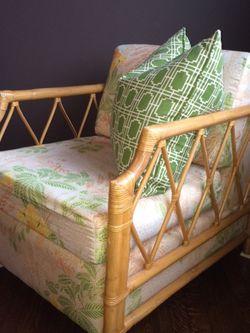 Hamptons Chic - Rattan Club Chair for Sale in Newton,  MA