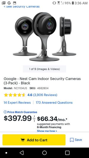 Google nest 3 cam security cameras for Sale in Greenville, SC