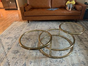 Coffee table mid century modern gold rum glass for Sale in Fremont, CA