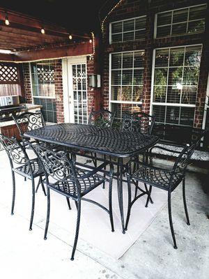 Cast aluminum 13 piece outdoor dinning furniture for Sale in Keller, TX