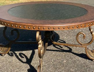 Antique Round Coffee Table Cherry Damask Wood & Metal for Sale in Vancouver,  WA
