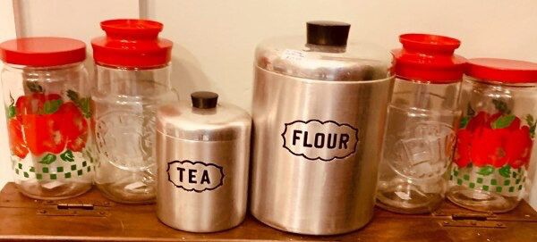 Pair of retro vintage aluminum kitchen canisters
