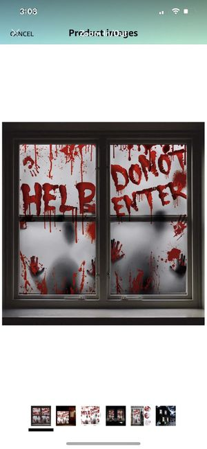 Poster Halloween Decoration - 2PCS Bloody Window Posters, House Indoor Blood Handprint & Shadowy Horrible Holiday Supplies-Do Not Enter for Sale in Brooklyn, NY