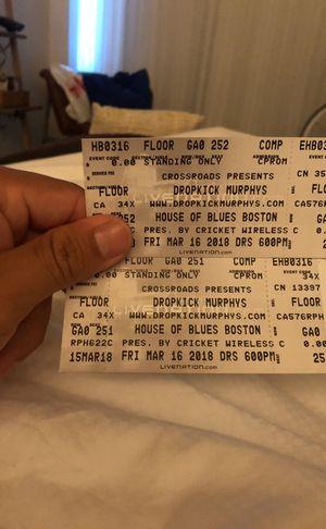 Two tickets for dropkick murphys for Sale in Boston, MA