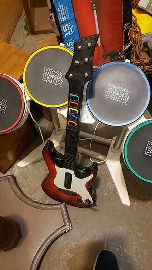 Rock band drum set and guitar for Sale in Kansas City, KS