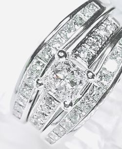 Diamond Engagement Ring Anniversary & Wedding Set 2.10 Carats 14 K White Gold Gemological Institute Lab Appraisal $7800 60% Off Now $2790 for Sale in Fort Lauderdale,  FL